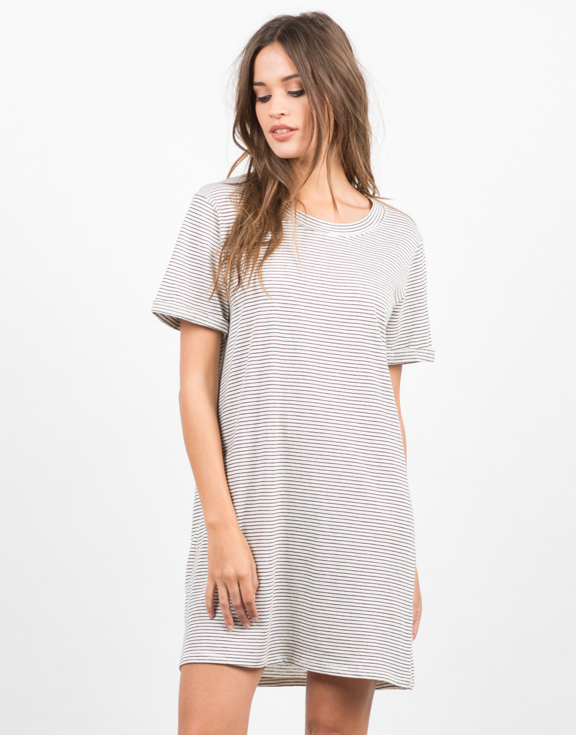 Front View of Striped Tunic Tee