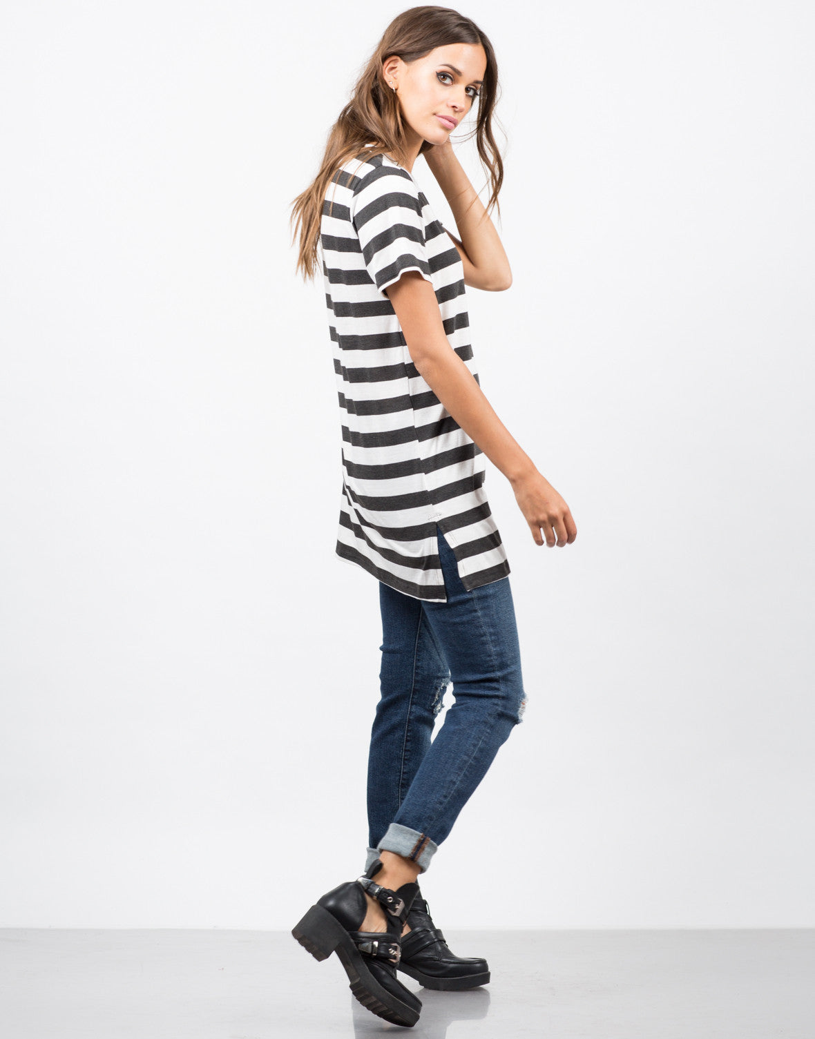 Side View of Striped Tunic Top