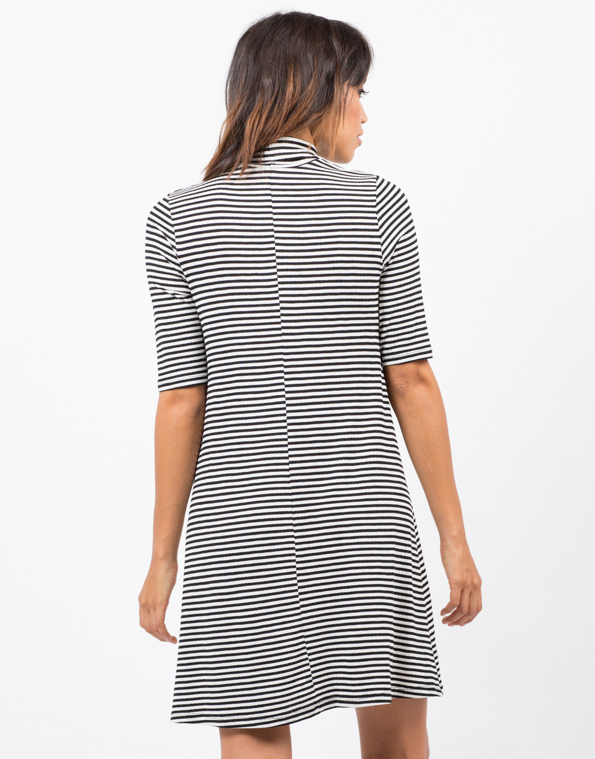 Back View of Striped Turtleneck Dress