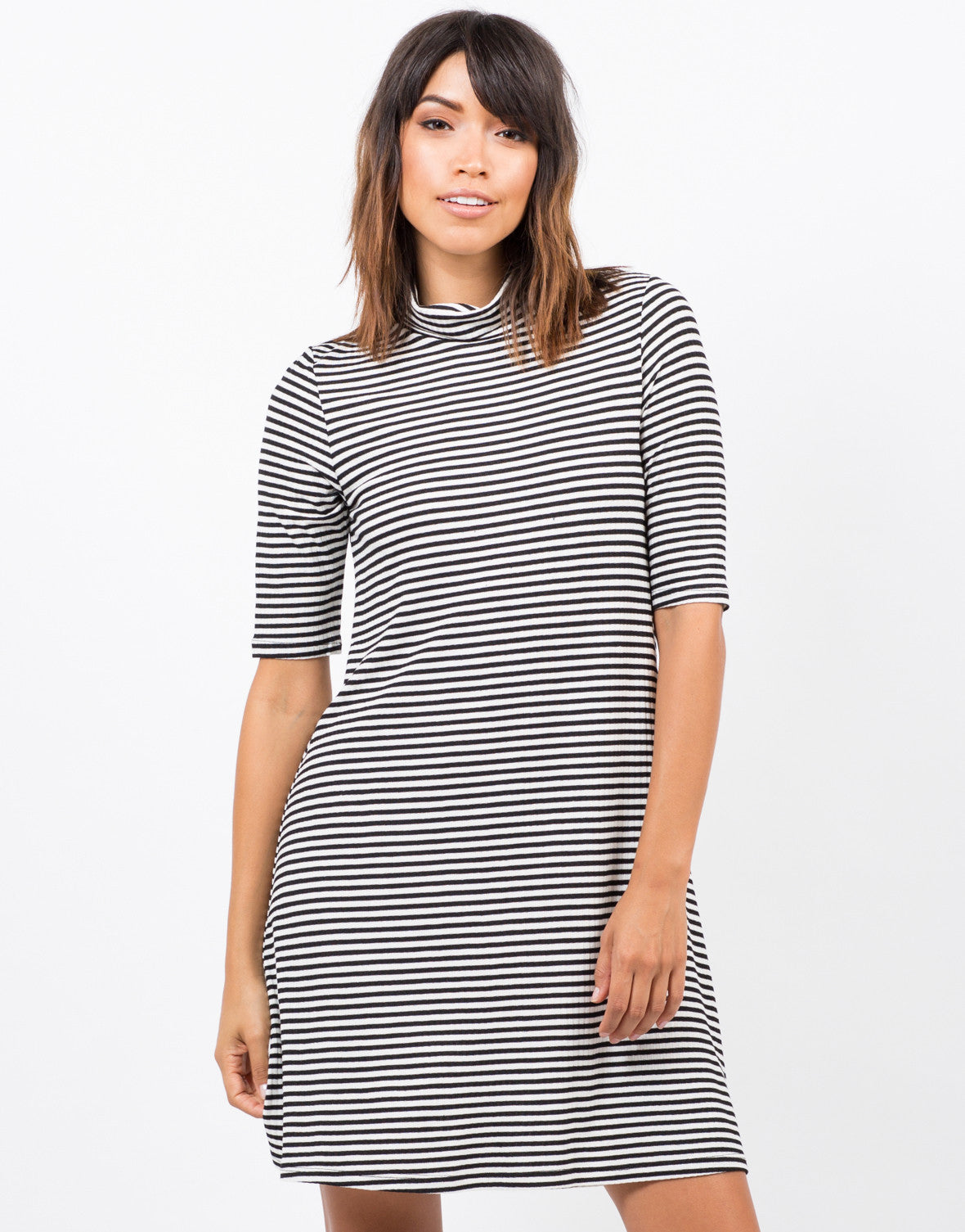 Front View of Striped Turtleneck Dress