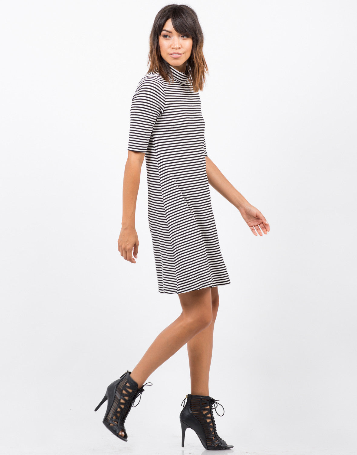 Side View of Striped Turtleneck Dress