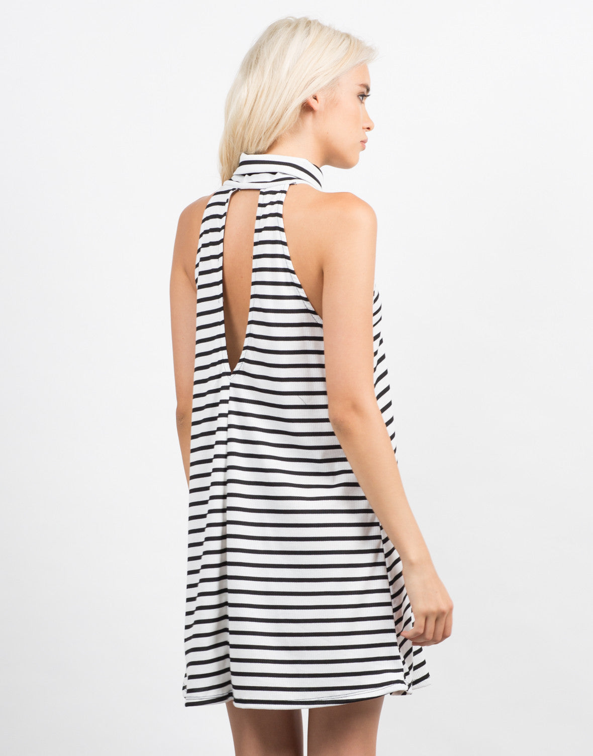 Back View of Striped Turtleneck Flare Dress