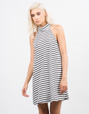 Front View of Striped Turtleneck Flare Dress