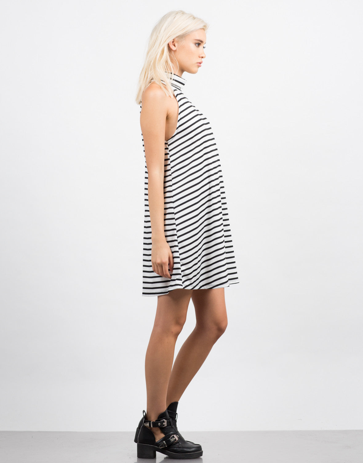 Side View of Striped Turtleneck Flare Dress