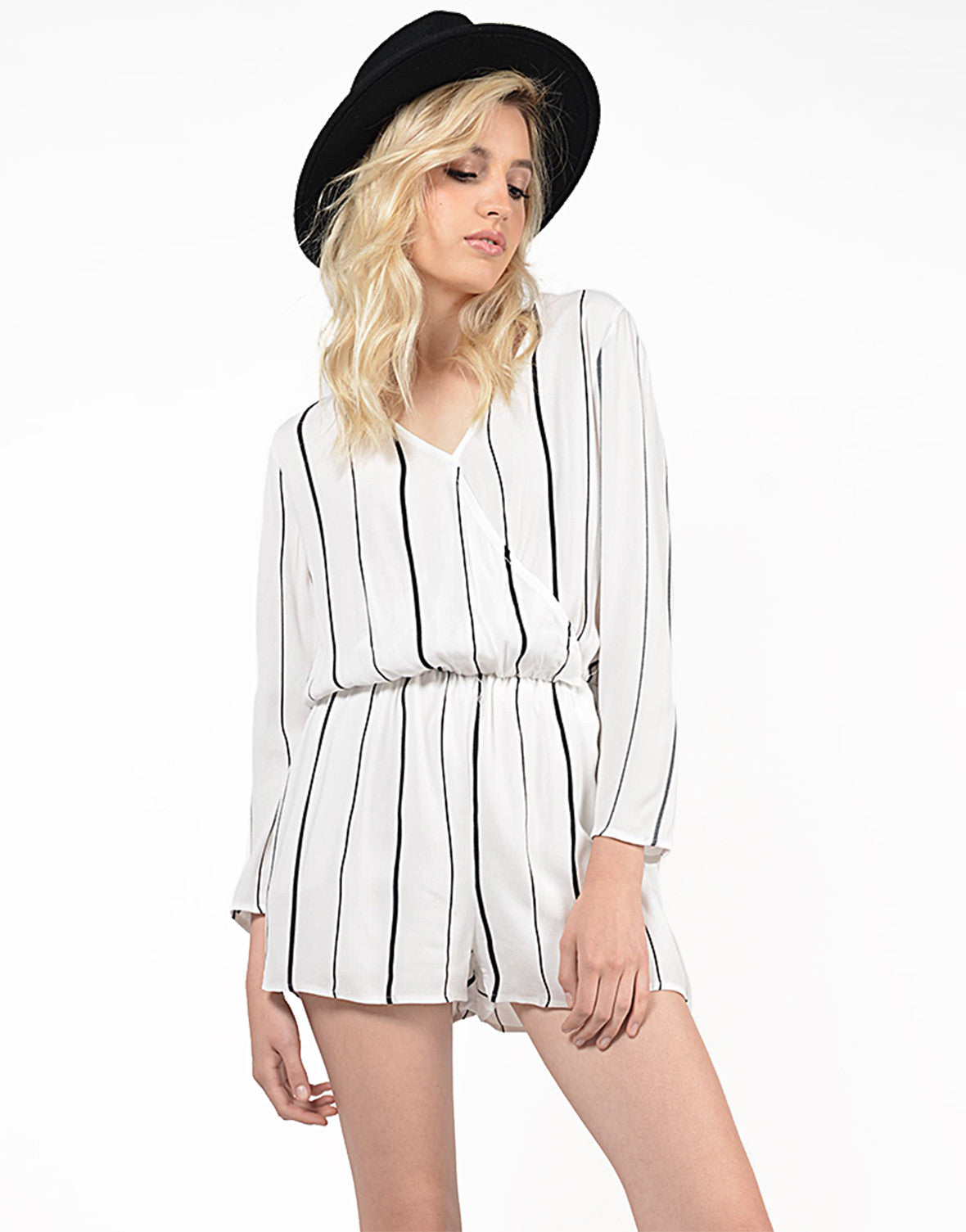 Front View of Striped V-Back Romper