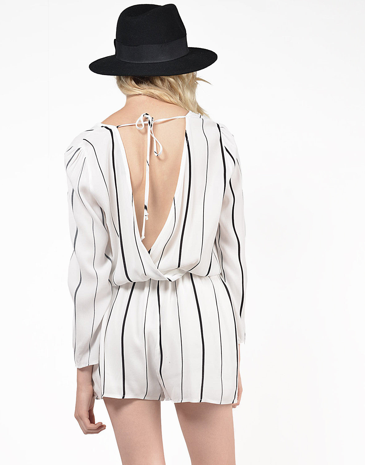 Back View of Striped V-Back Romper