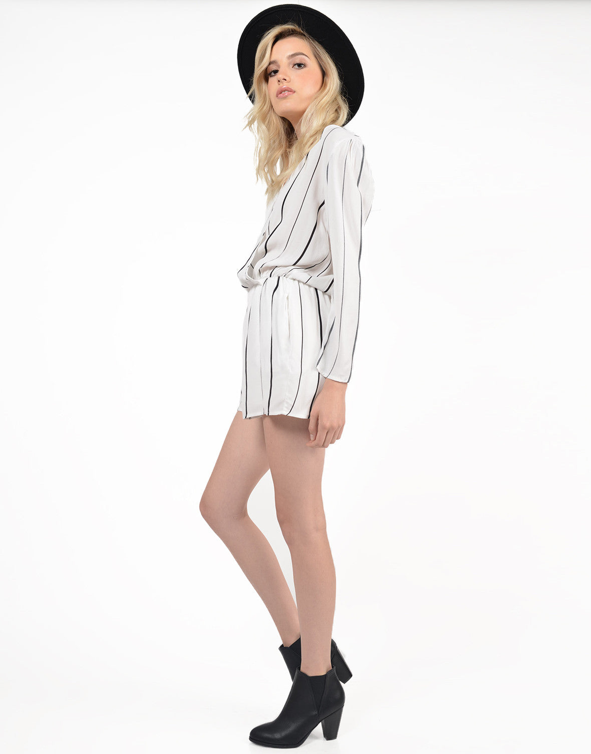 Side View of Striped V-Back Romper