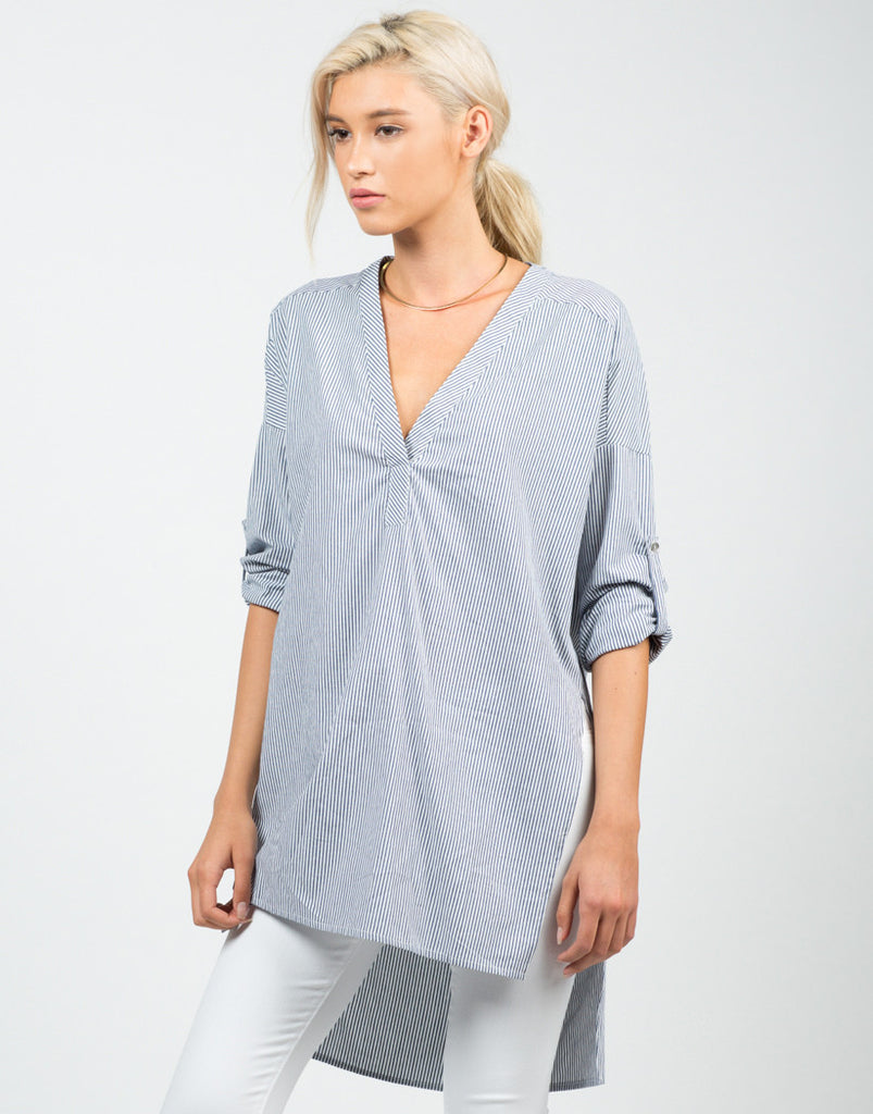 Striped V-Neck Shirt - 2020AVE