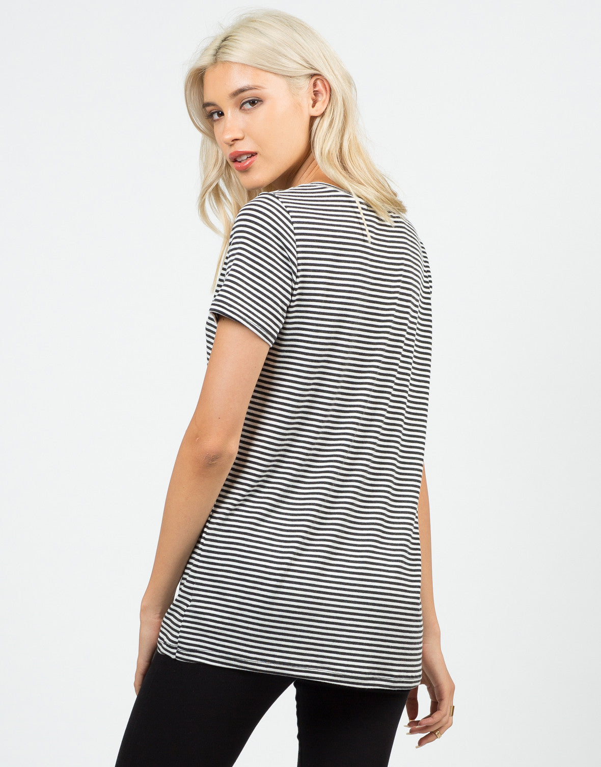 Back View of Striped V-Neck Tee