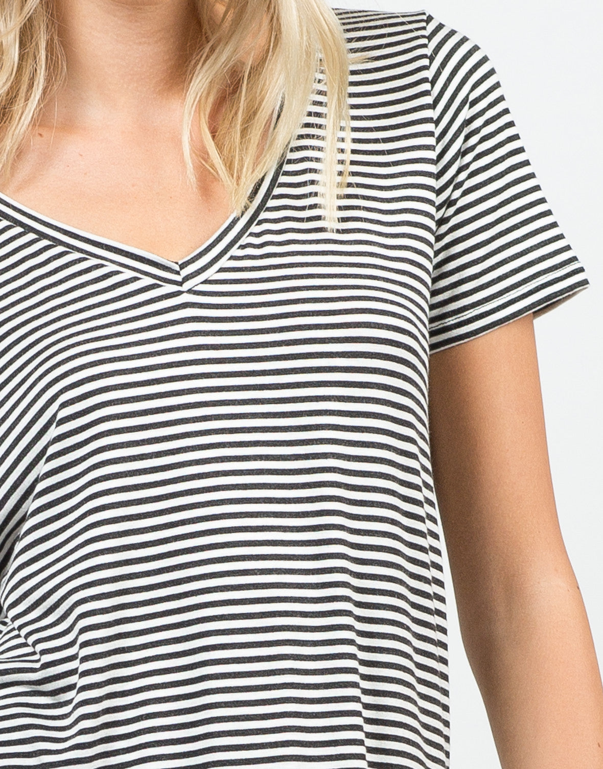 Detail of Striped V-Neck Tee