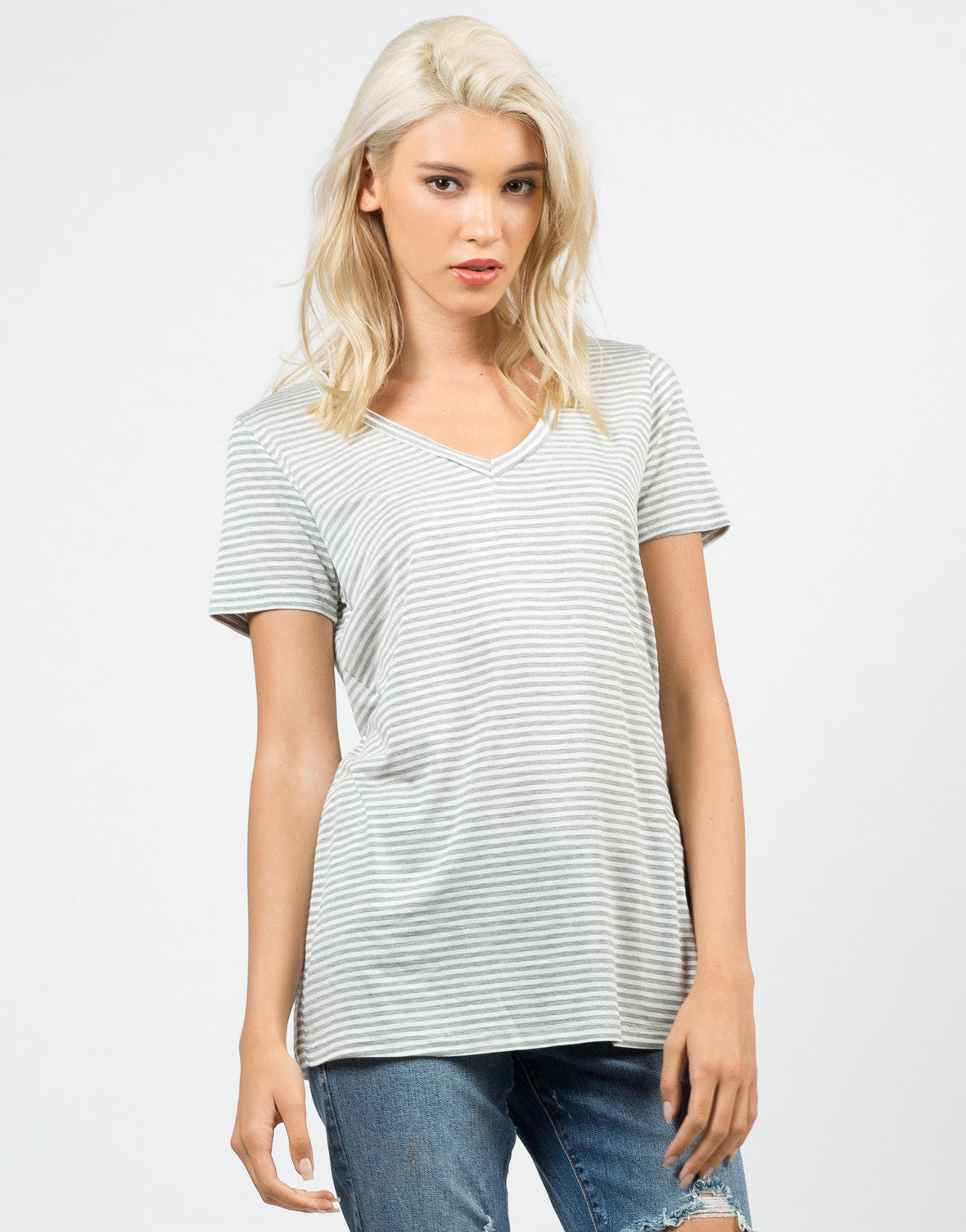 Front View of Striped V-Neck Tee