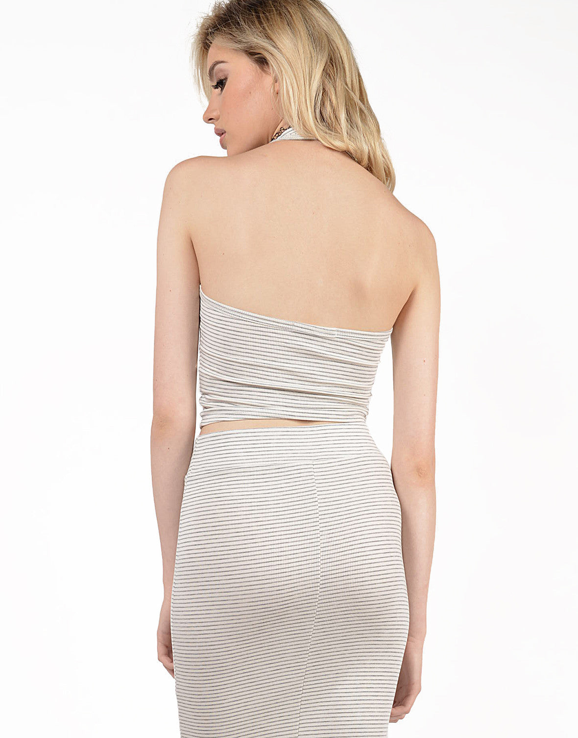 Back View of Striped Zip Halter Top