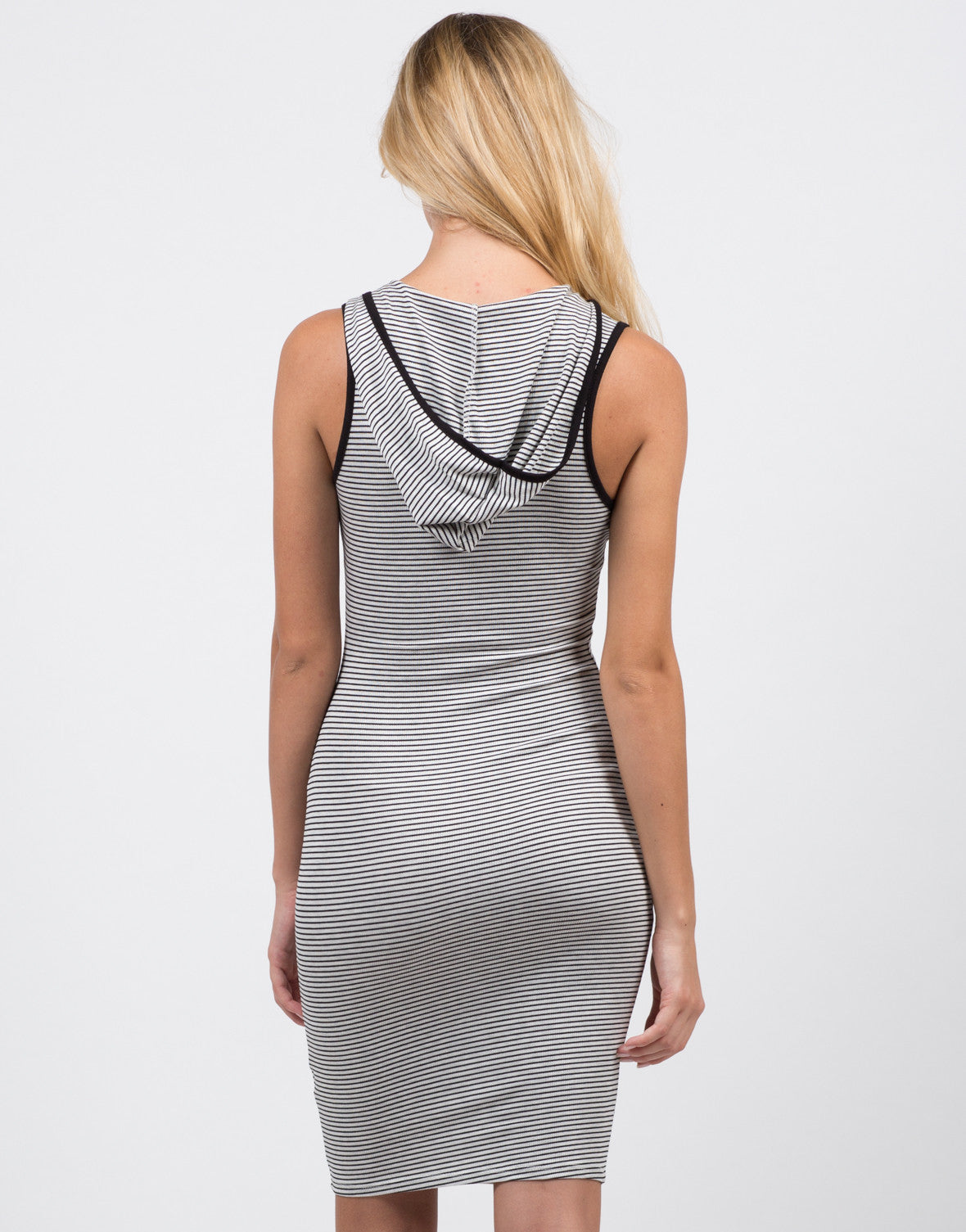 Back View of Stripe Hooded Dress