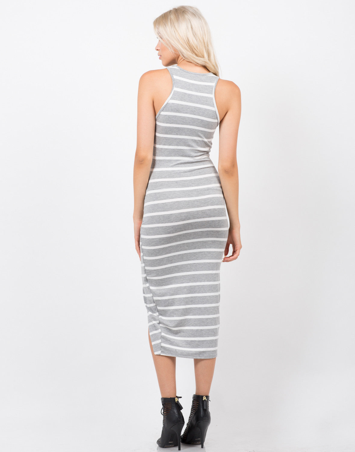 Back View of Stripe Knotted Dress