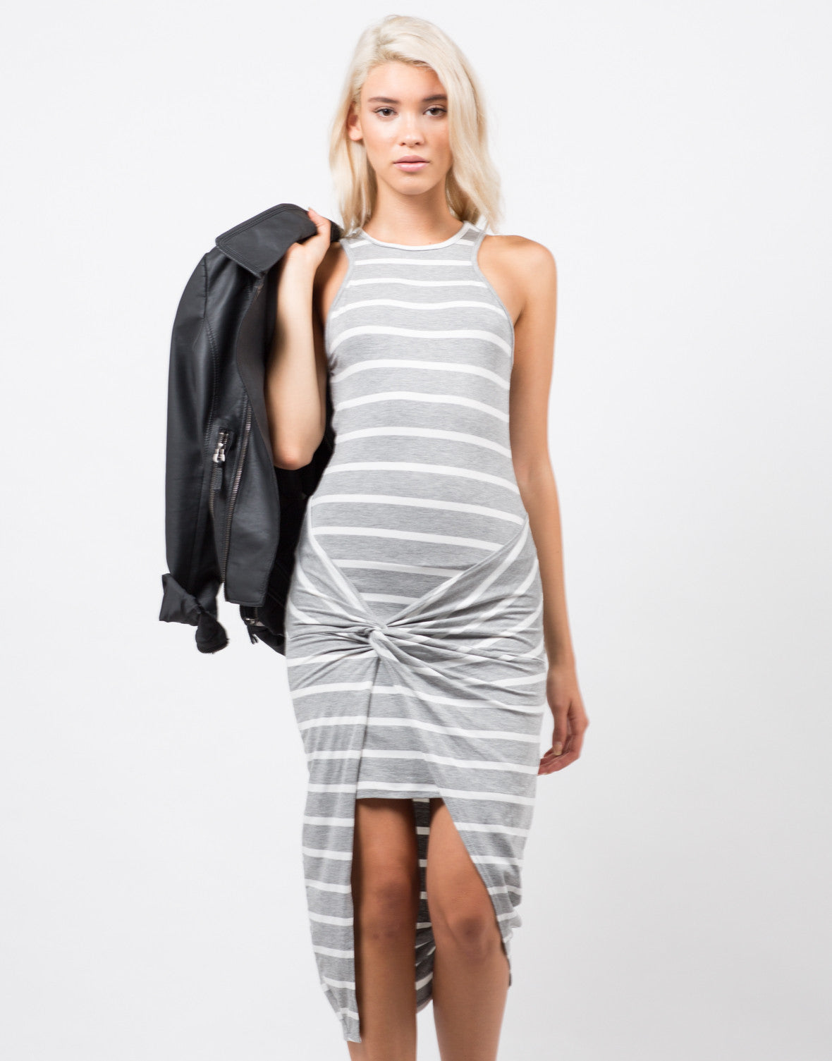 Front View of Stripe Knotted Dress
