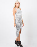Side View of Stripe Knotted Dress