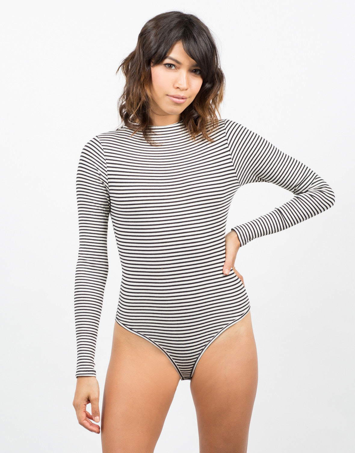 Front View of Stripe Ribbed Bodsyuit
