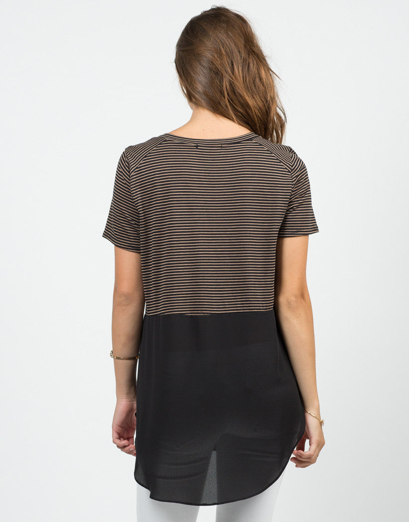 Back View of Stripey Dipped Chiffon Tee - Black