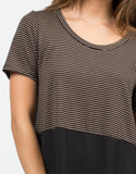 Detail of Stripey Dipped Chiffon Tee - Black