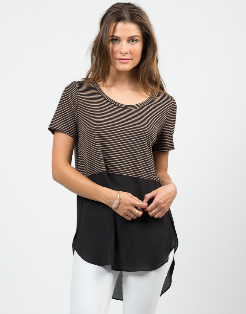 Front View of Stripey Dipped Chiffon Tee - Black