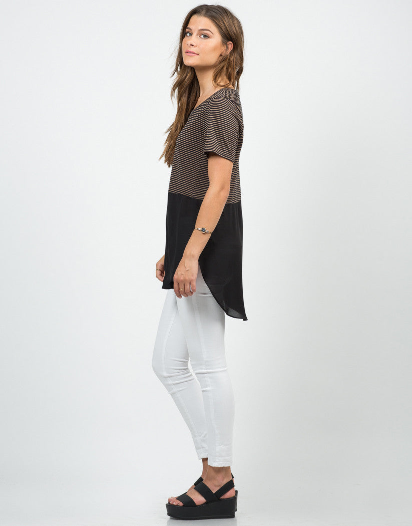 Side View of Stripey Dipped Chiffon Tee - Black