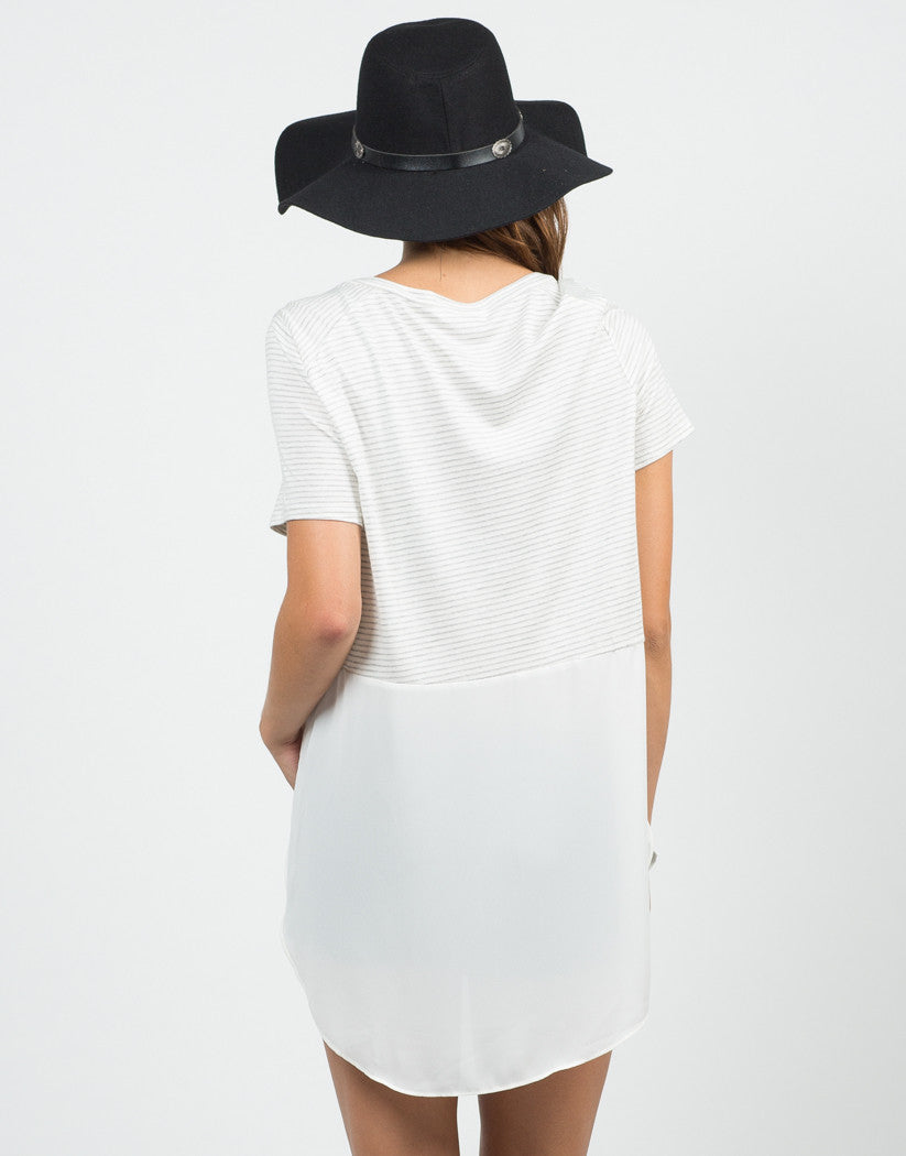 Back View of Stripey Dipped Chiffon Tee - Cream