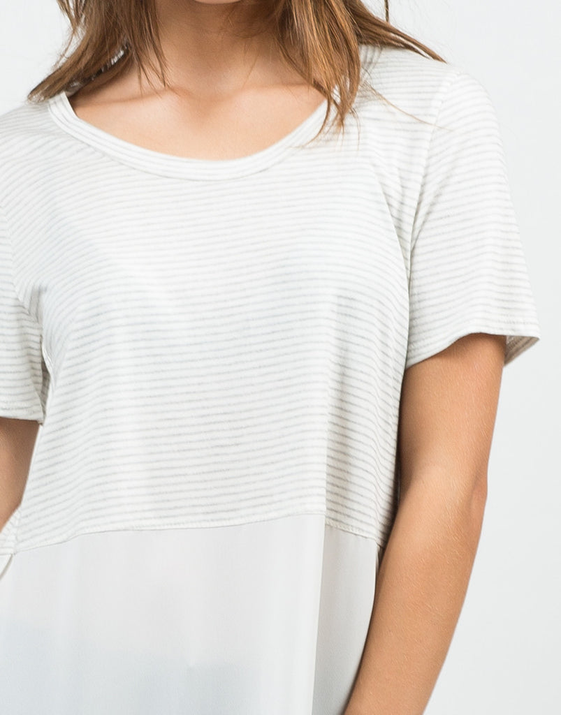 Stripey Dipped Chiffon Tee - 2020AVE