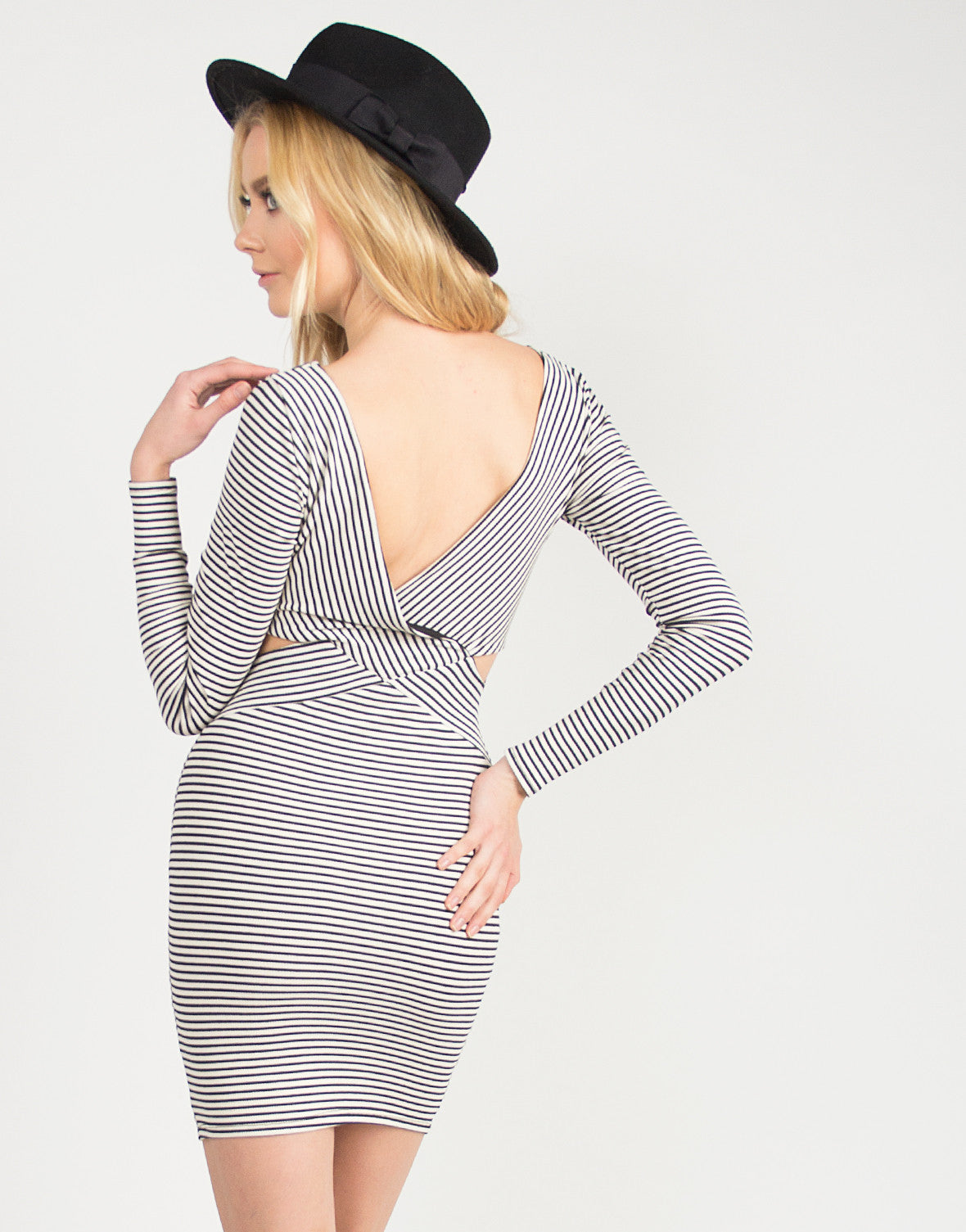 Stripey Long Sleeve Cross Back Dress