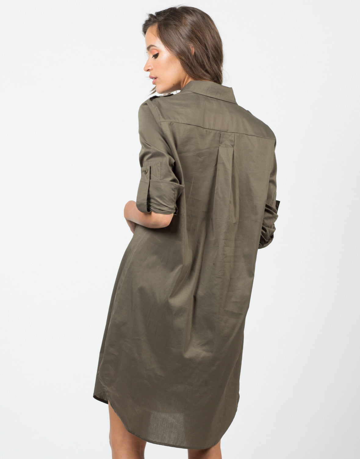 Back View of Structured Oversized Shirt Dress