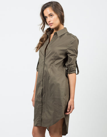 Front View of Structured Oversized Shirt Dress