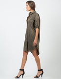 Side View of Structured Oversized Shirt Dress