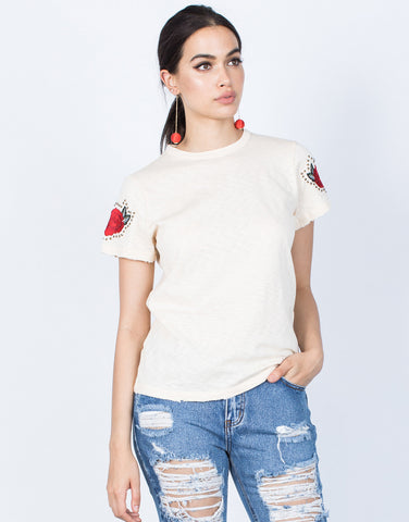Front View of Studded Rose Tee