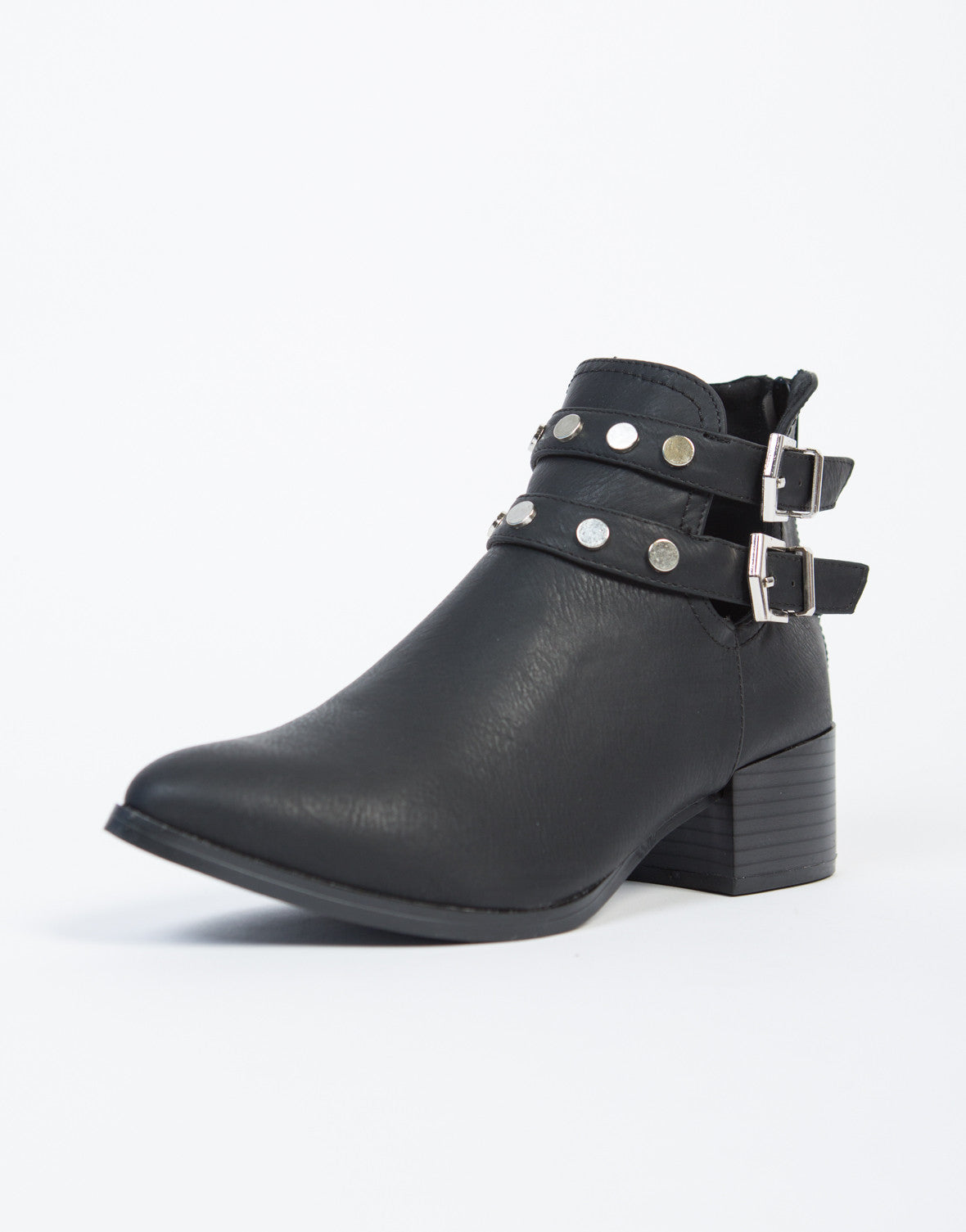 Studded Strapped Ankle Booties - 2020AVE