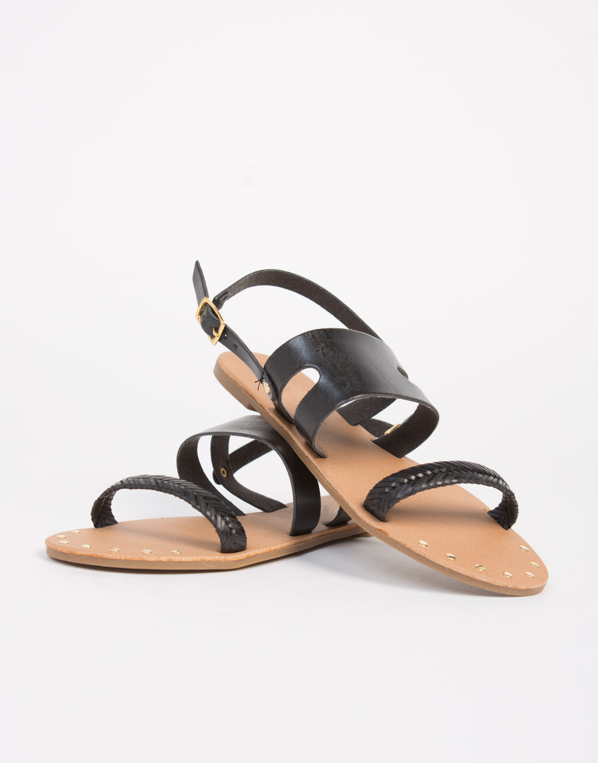 Studded Woven Slingback Sandals - 2020AVE