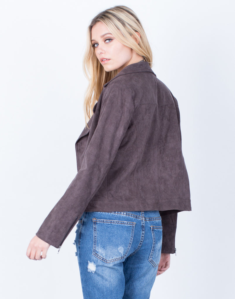 Back View of Suede Biker Jacket