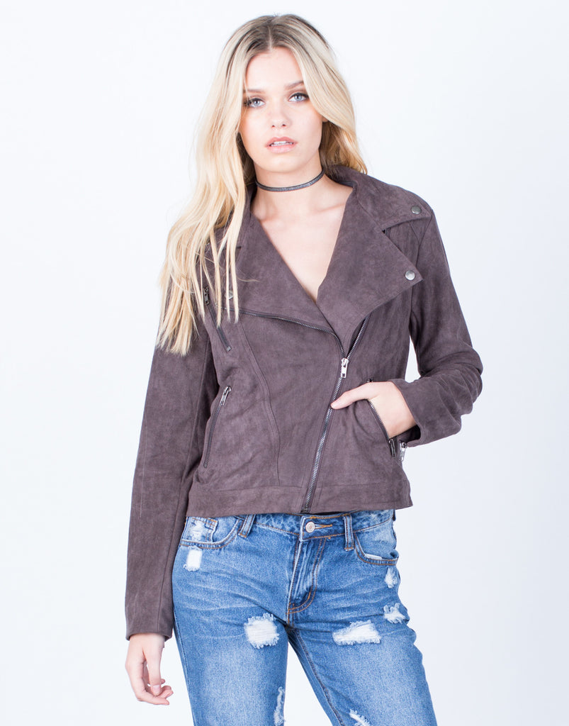 Front View of Suede Biker Jacket