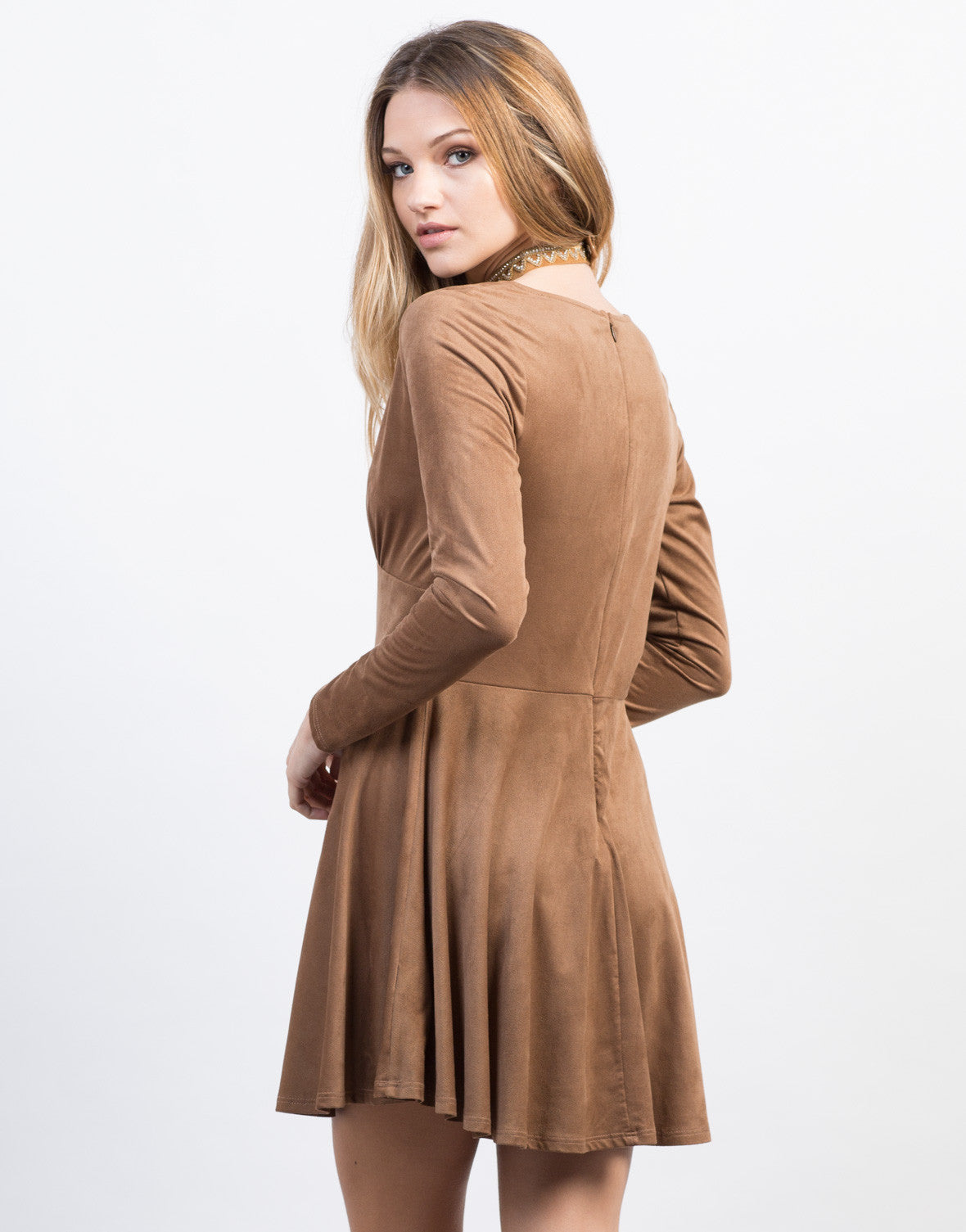 Back View of Suede Buttoned Dress