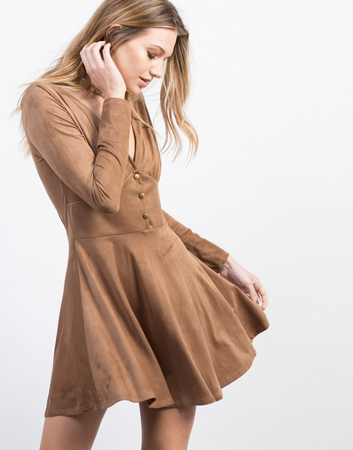 Detail of Suede Buttoned Dress