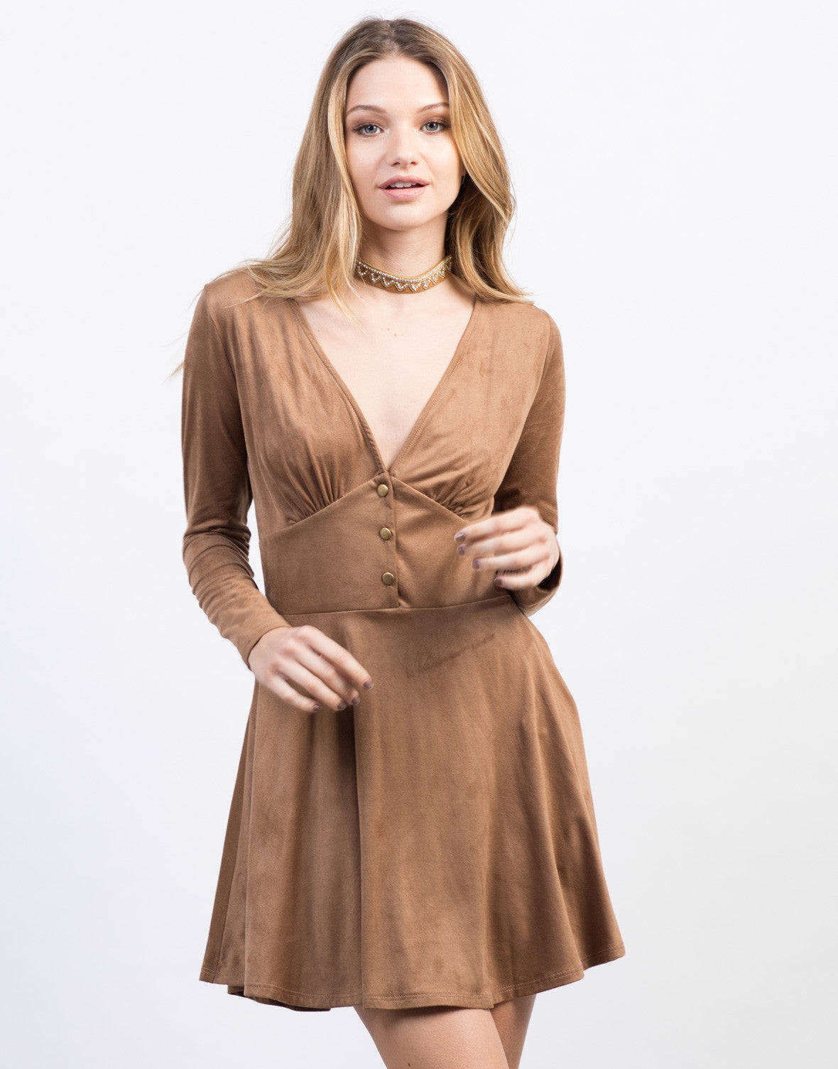 Front View of Suede Buttoned Dress