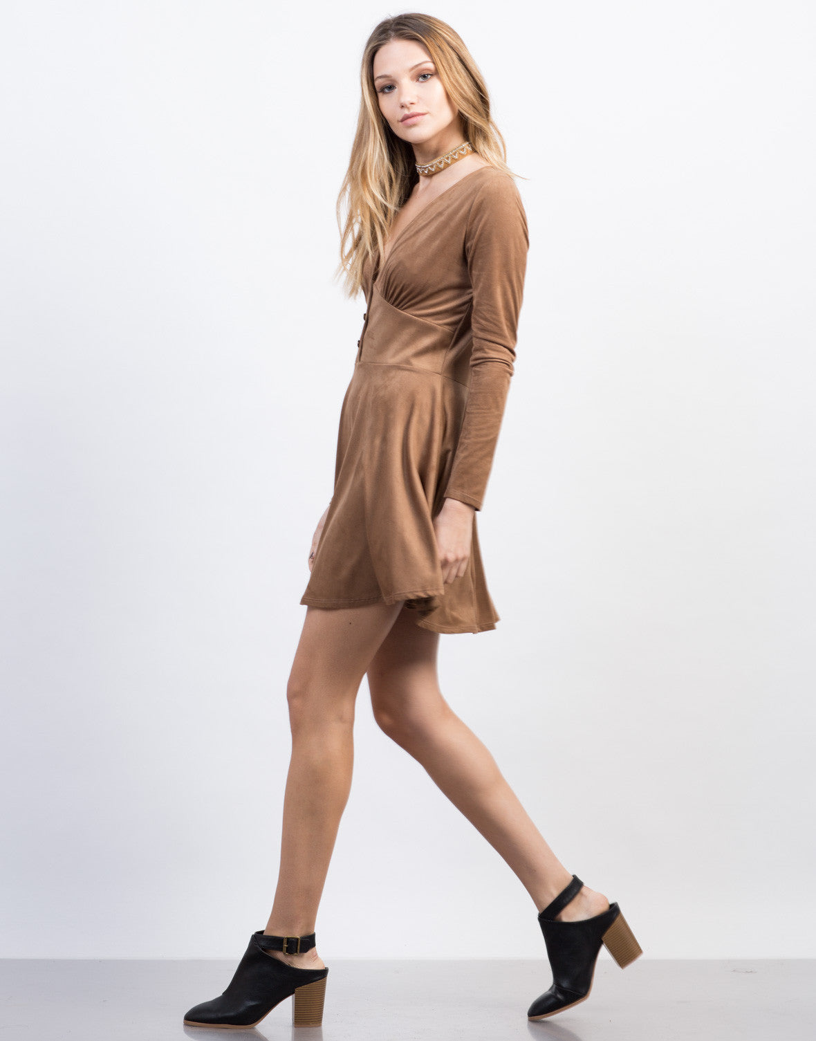 Side View of Suede Buttoned Dress