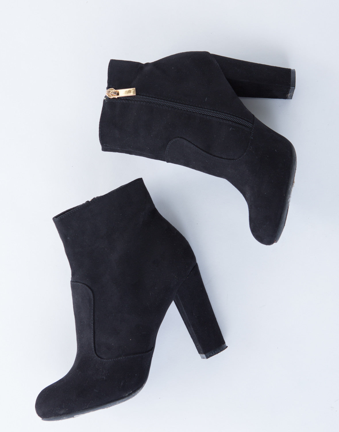 Suede Chunky Heel Boots - Black Suede