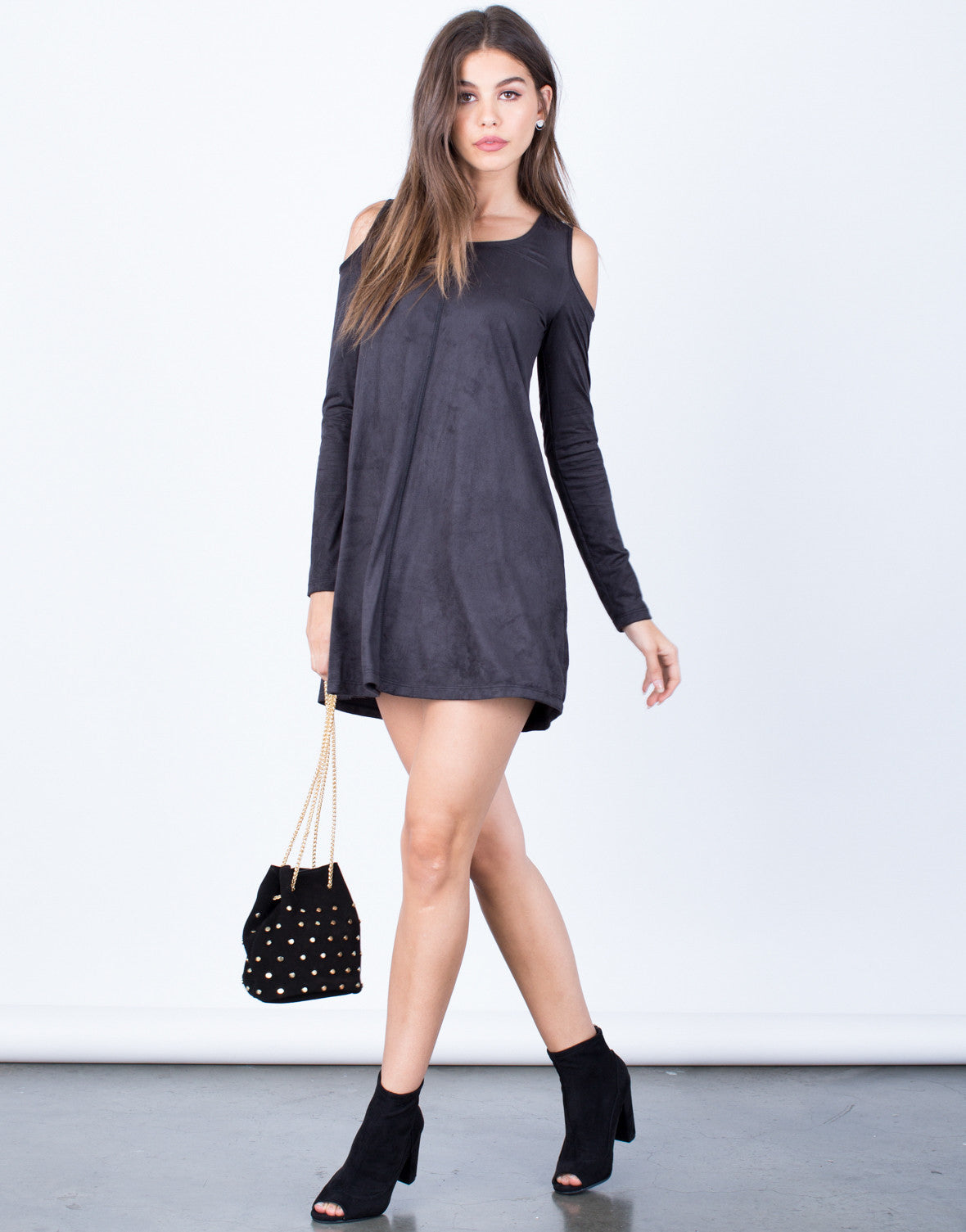 Side View of Suede Cold Shoulder Dress