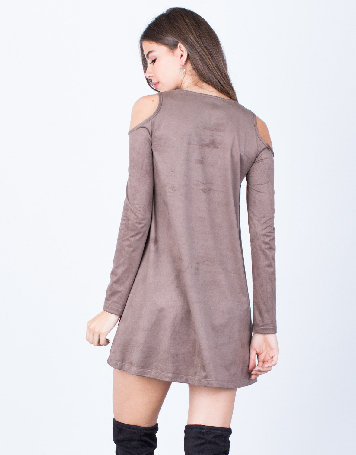 Back View of Suede Cold Shoulder Dress