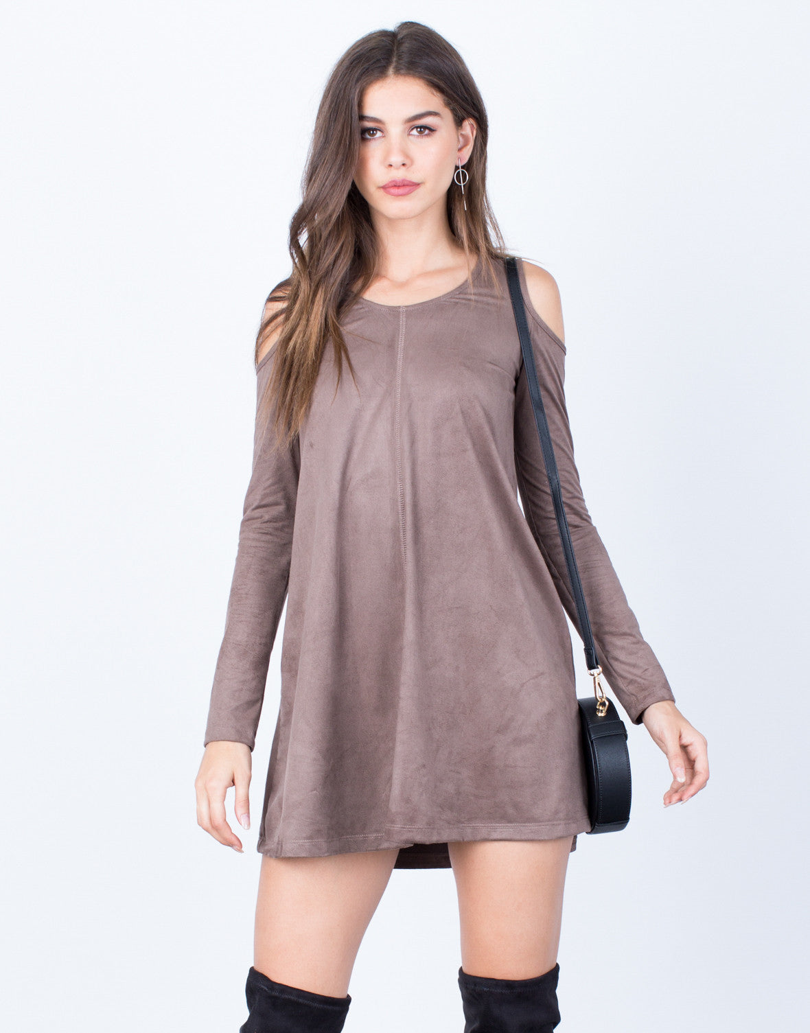 Front View of Suede Cold Shoulder Dress