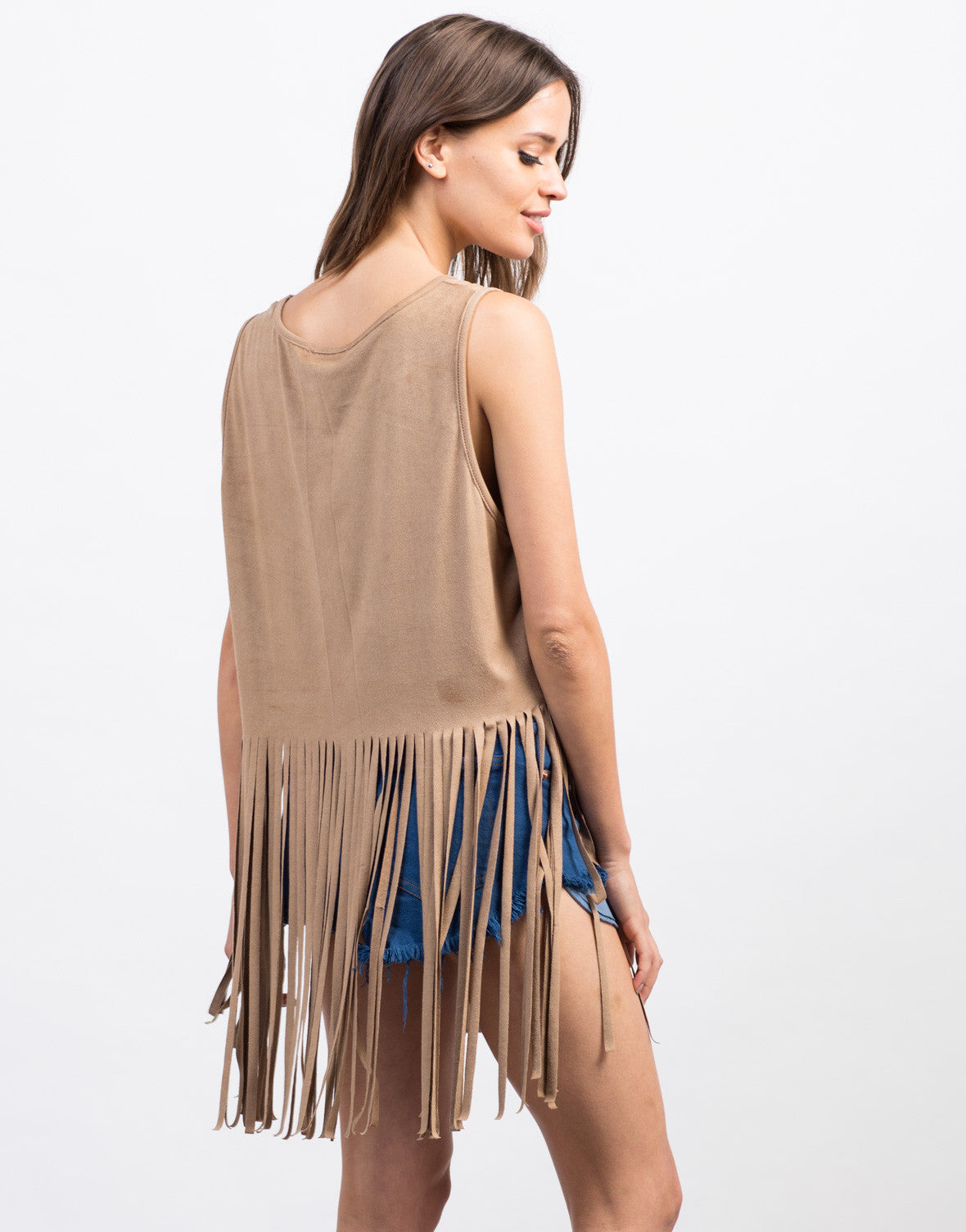 Back View of Suede Fringe Tank Top