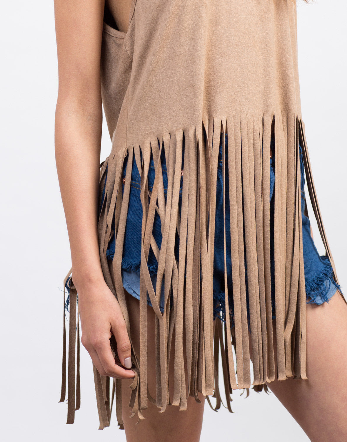 Detail of Suede Fringe Tank Top