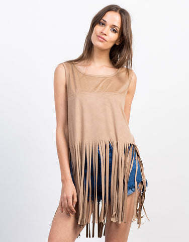 Front View of Suede Fringe Tank Top