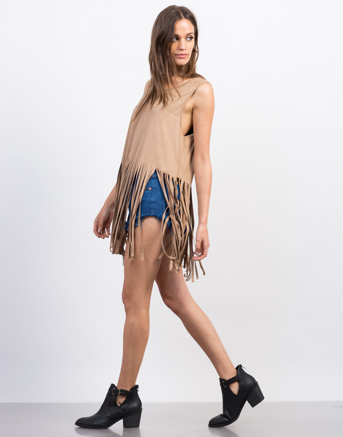 Side View of Suede Fringe Tank Top