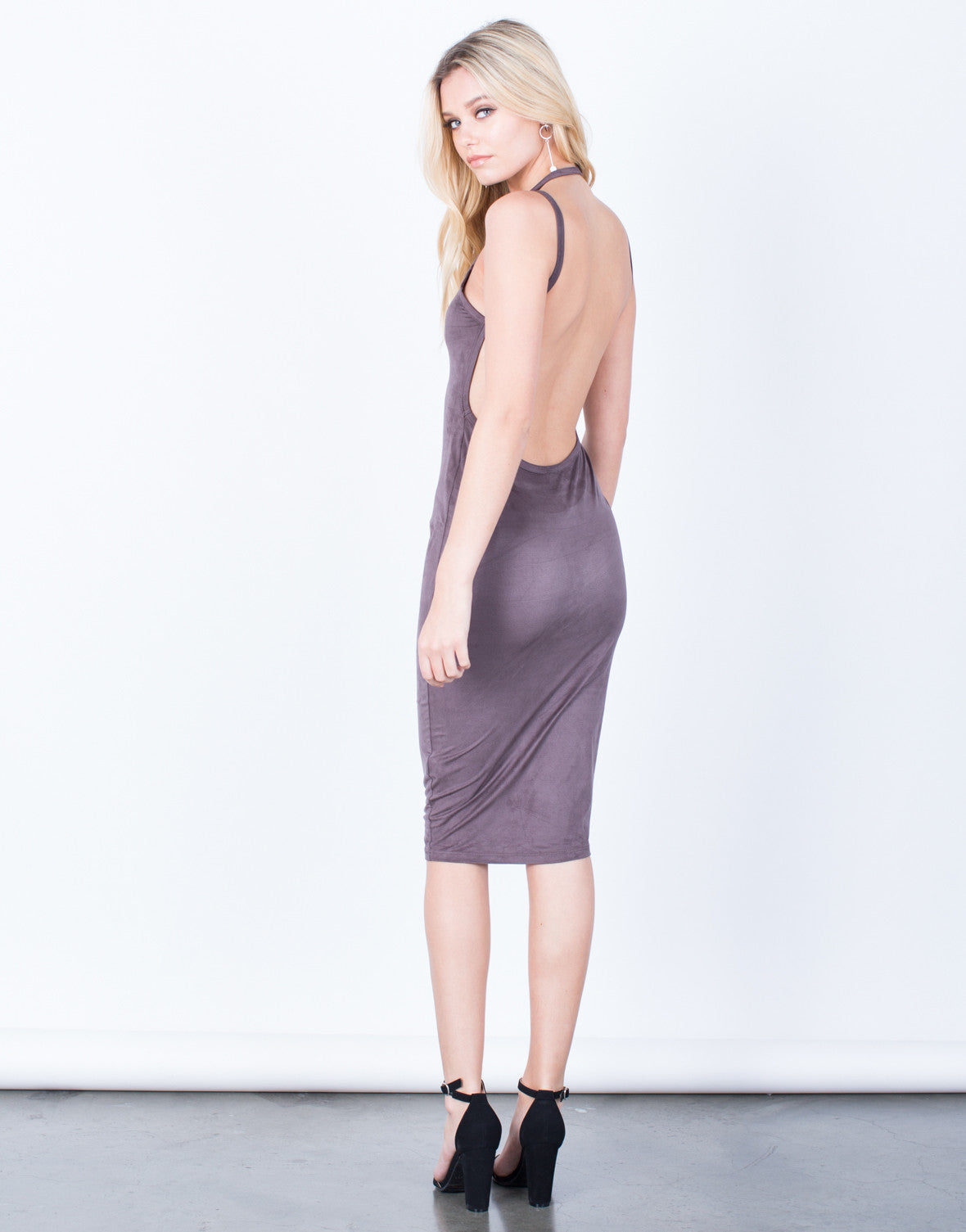 Suede Halter Midi Dress