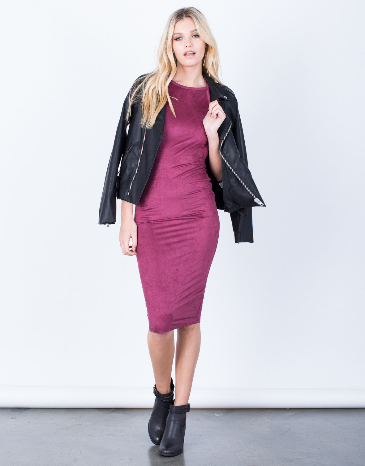 Front View of Suede Halter Midi Dress